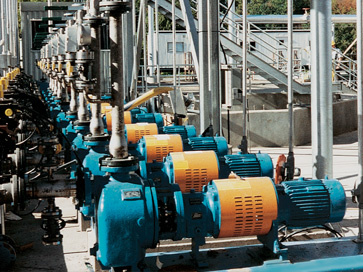 Solvent tank farm pumps at a chemical process plant