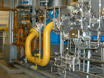 High pressure natural gas piping at a Combine Cyle power plant