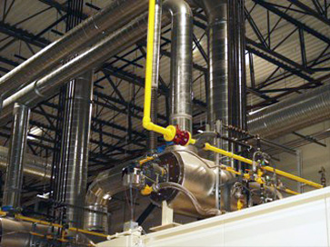 High pressure natural gas piping at manufacturing plant